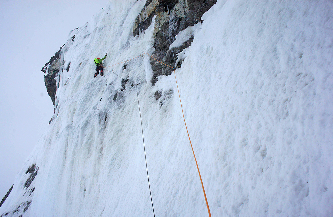 In the ice couloir of the south face.