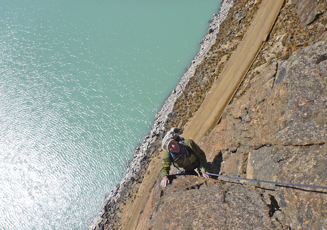 Climbing on the route California Dreaming at Zongo Pass.