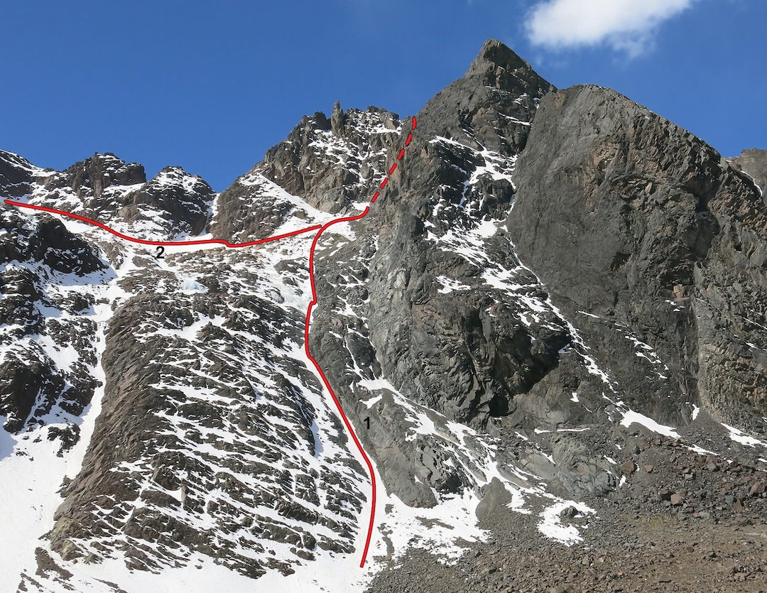 (1) Los Llokallas on the west face of Wila Manquilizani. From the top, the route was rappelled to the snow bowl, from which the first ascensionists traversed off (2).
