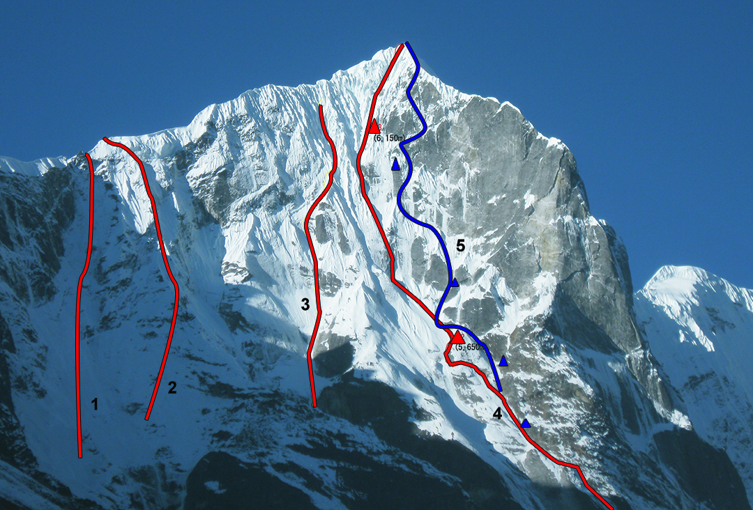The upper section of the northeast face of Tengkangpoche. (1) Bullock descent route. (2) Nick Bullock, solo, 2003, as far as the east ridge. (3) Kenji Arai–Takaaki Nagato attempt to ca 6,250m in 2008. (4) Moonlight (2008). (5) Battle For Love, where different from Moonlight