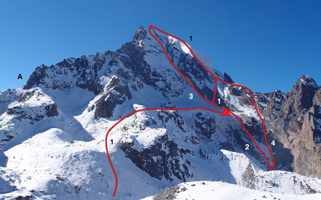 Naya Kanga from east-northeast. (A) Gangja La. (1) Normal Route. (2) Korean direct approach to central couloir. (3) Northeast face, central couloir. (4) Korean descent route.