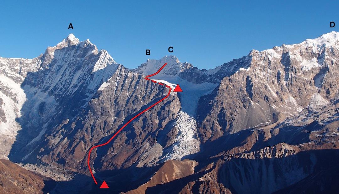 Looking north onto the Kyimoshun Glacier. (A) Peak 6,781m (a.k.a Tsangbu Ri). (B) Langtang Yubra (6,048m). (C) Yubra (6,264m). (D) Dagpache (6,567m). Base Camp (4,200m) and Camp 1 (5,420m) are shown.