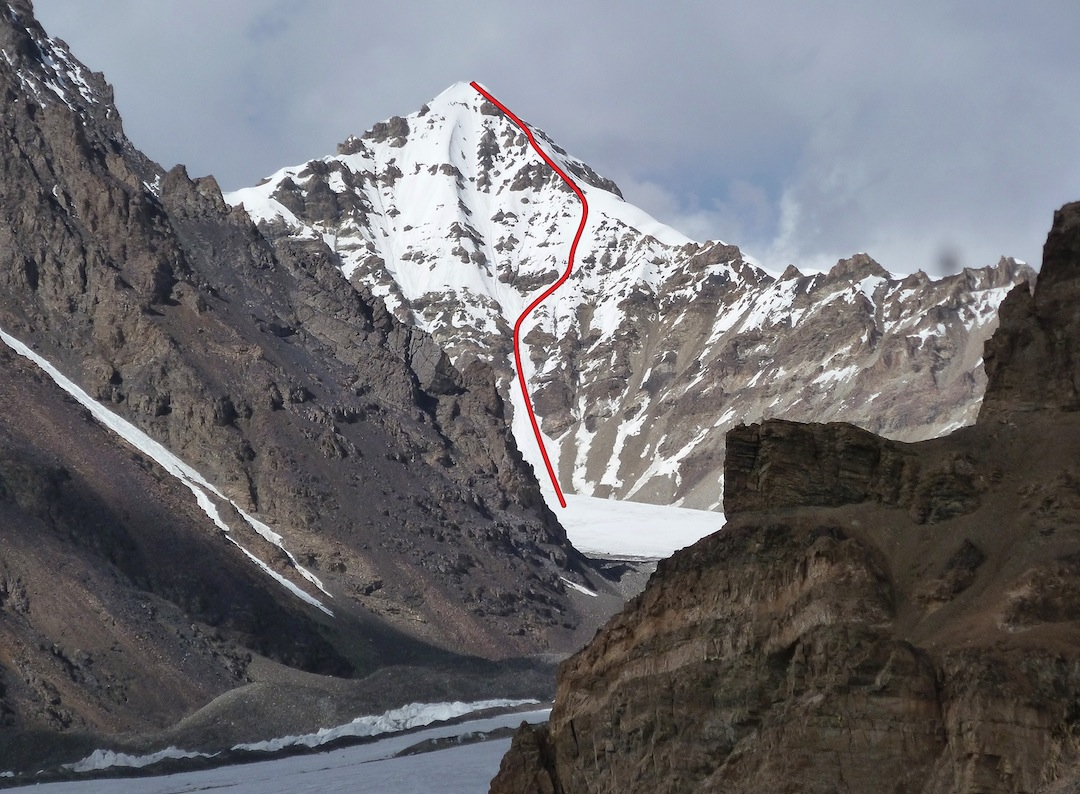 South face of Yawash Sar Middle, showing route of ascent.