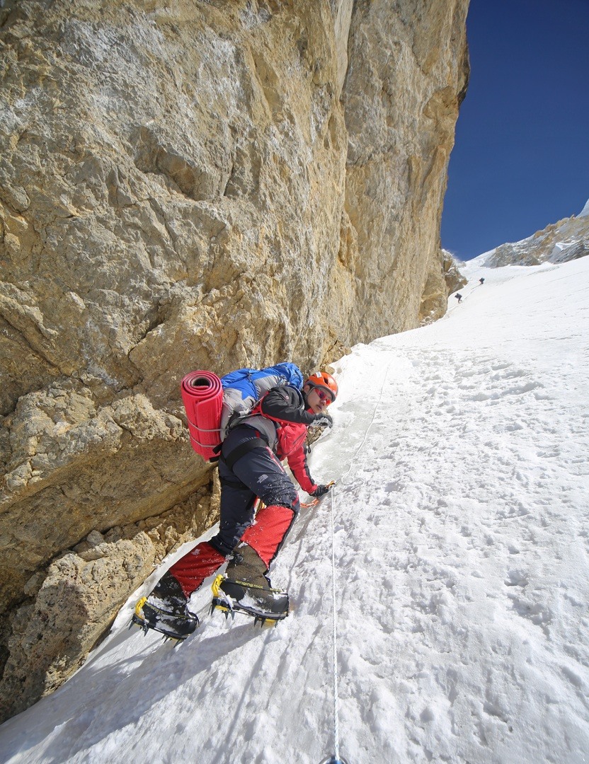 Climbing the couloir leading to the Korean Gate.