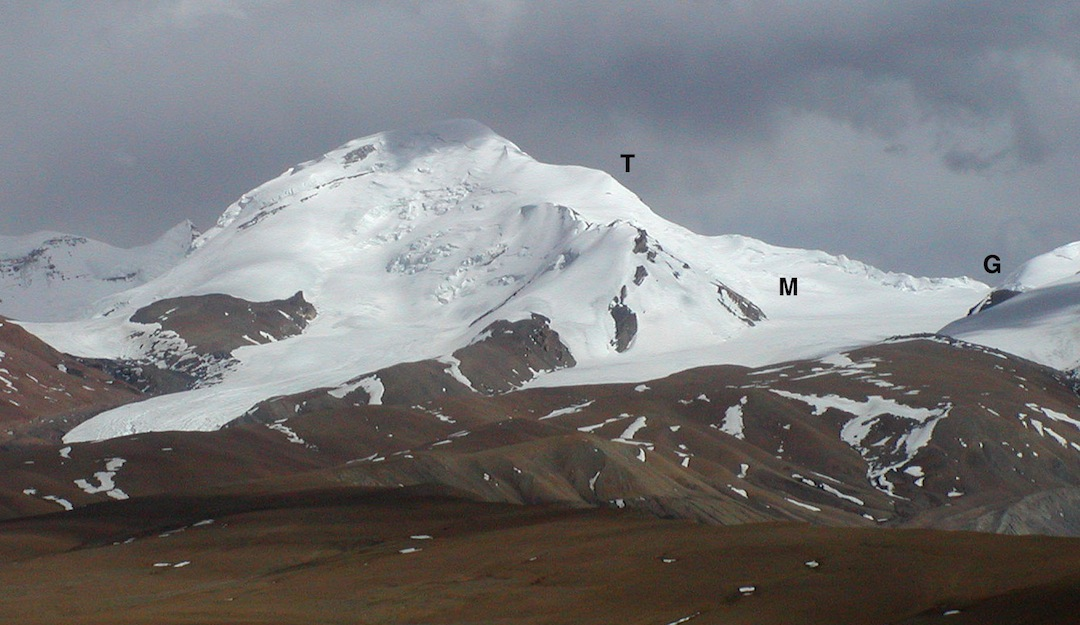 Lugula from the northwest with (T) Tiger Ridge, (M) the broad and gentle Minerva snowfield, and (G) Korean Gate.