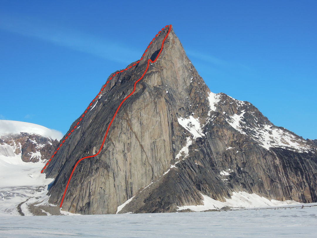 Mt. Loki from the Turner Glacier, showing the approximate location of the south buttress route on the left and the new route on the southeast ridge [Nettle-Shelton, 2013] on the right. Dave Nettle and Rueben Shelton descended the right skyline to the snowy ramp system.