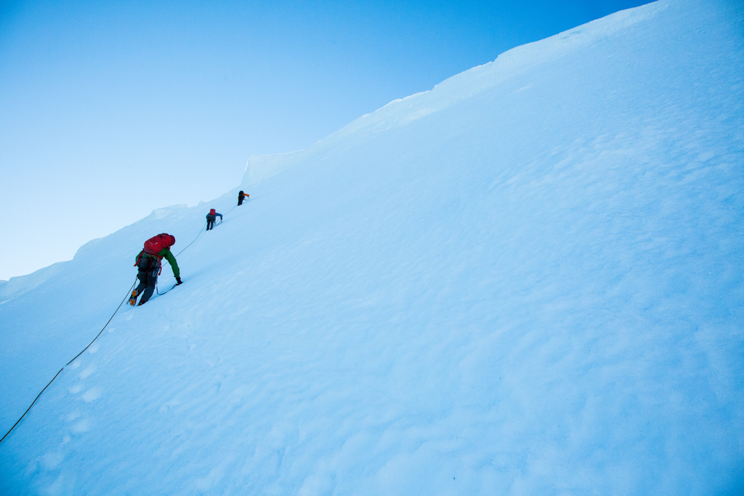 The final snowfield to the summit of Cerro Mariposa.