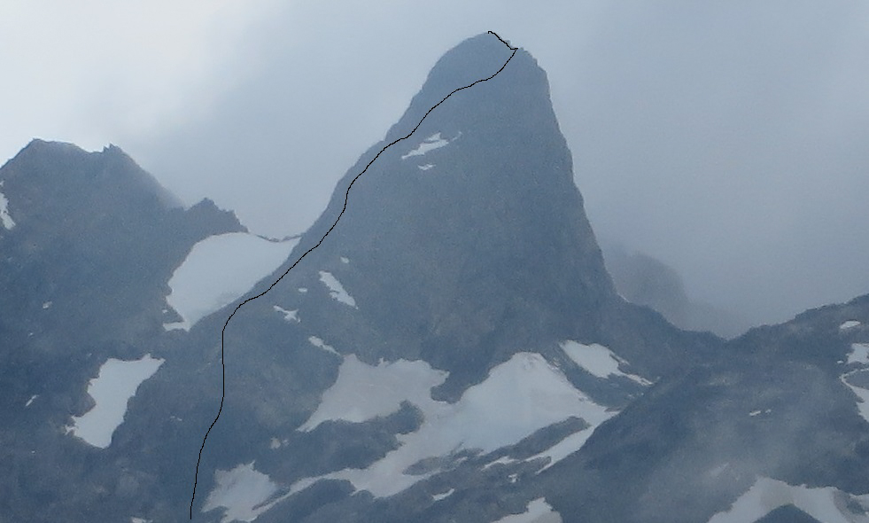 The route on Peak 1,960m's south face.