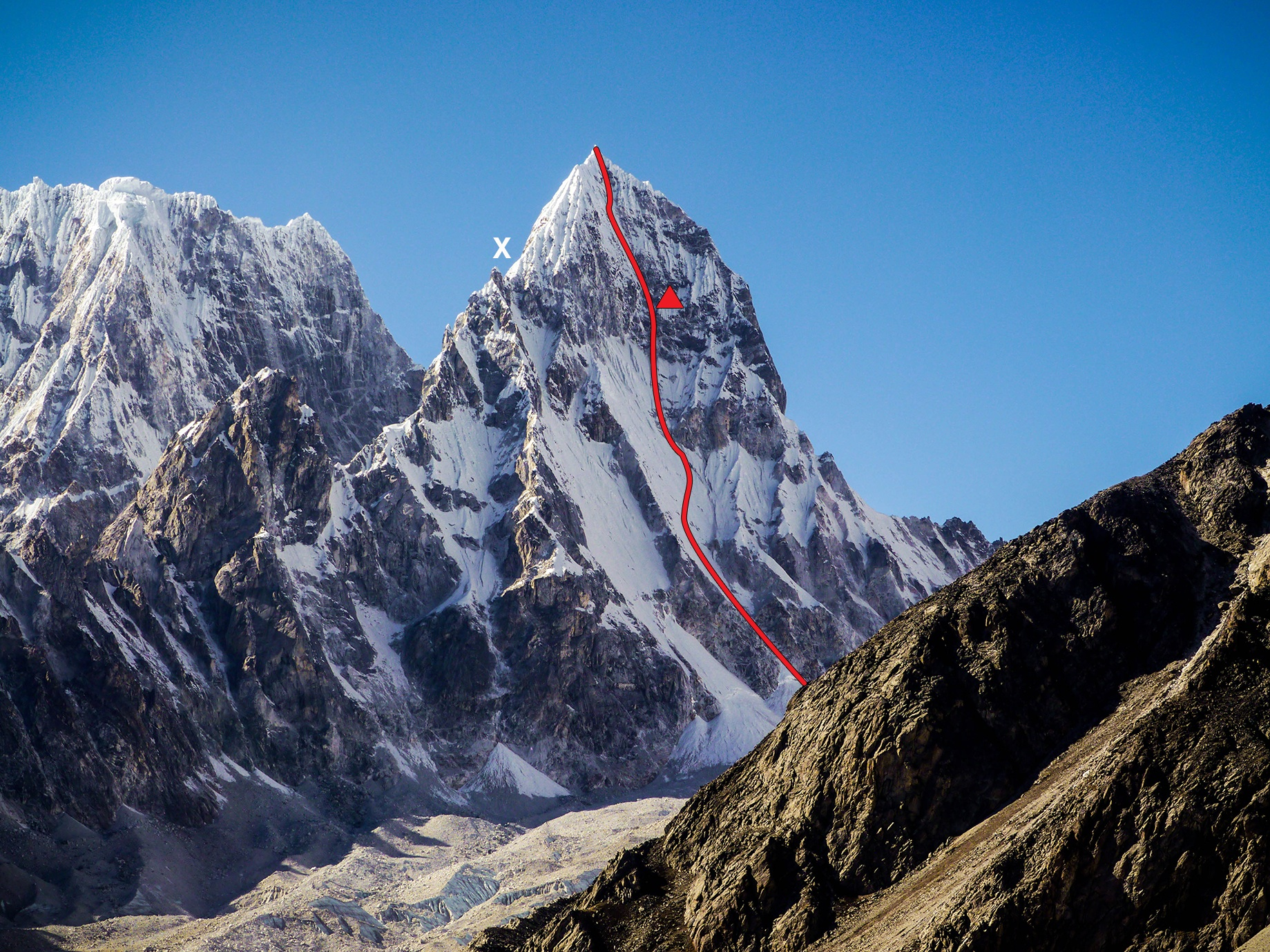 Pangbuk North (6,589m; 6,748m HMG-Finn map), with the line of the 2013 first ascent and bivouac site on the northeast face marked. The X marks the like- ly high point of the 2009 team, which attempted a line left of the 2013 route. In 2010, a French team attempted the leftmost ice sheet, continuing up the southeast ridge to the tower just left of the X. They described the ca 350 meters of terrain above this point on the southeast ridge as looking very difficult and tenuous, with huge snow mushrooms to pass. In the background: Pangbuk Ri (6,716m).