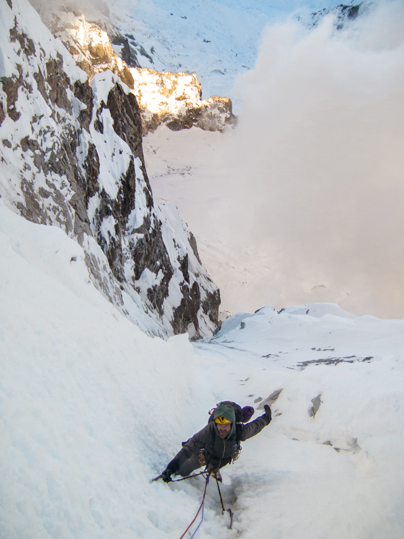 Scott Adamson nears the top of Lunag West.