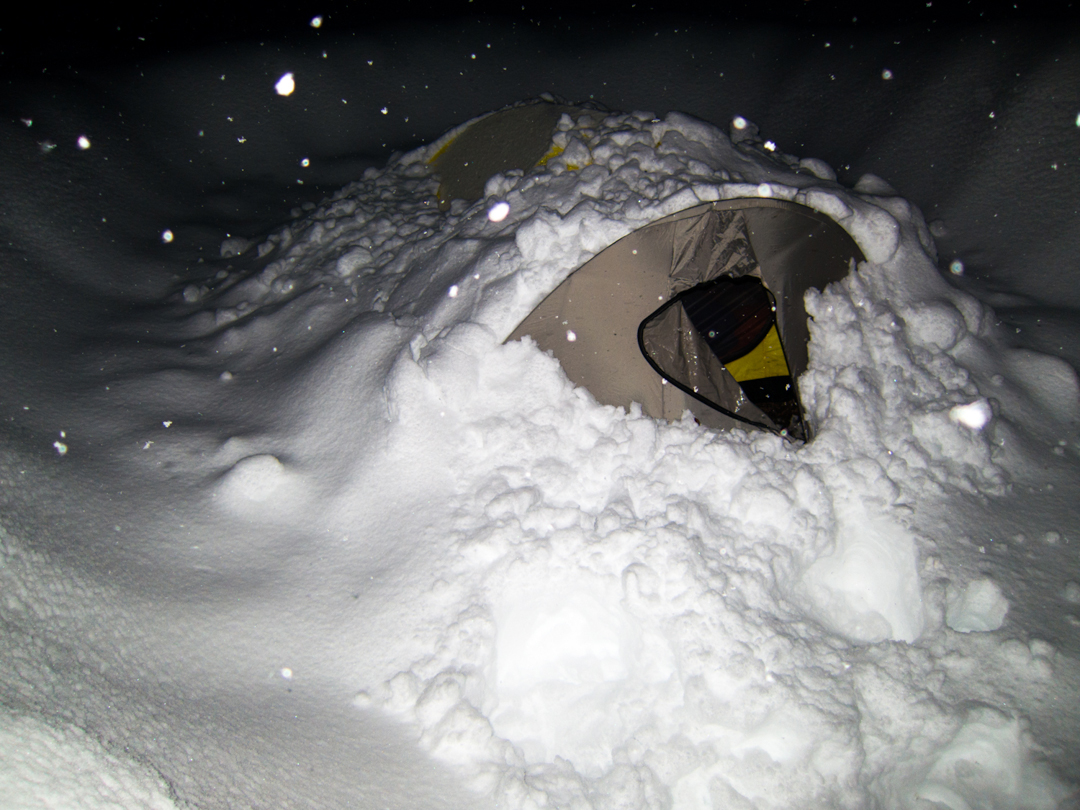 Wright's tent during the big storm at base camp.
