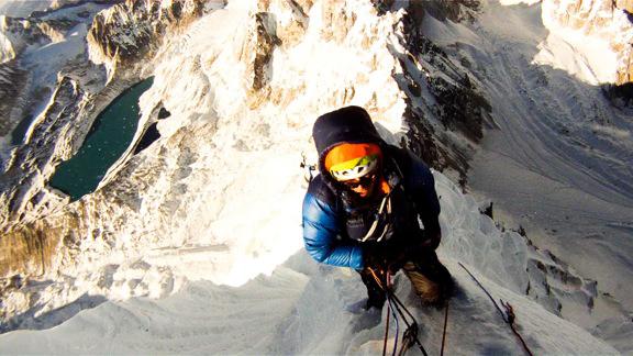 Chris Wright at the tiny true summit of Pangbuk North.
