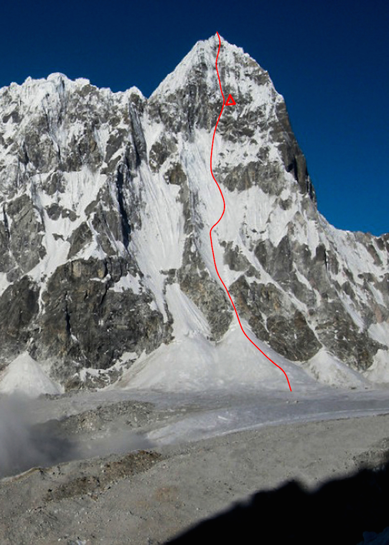 The northeast face of Pangbuk North with the route and bivy marked.