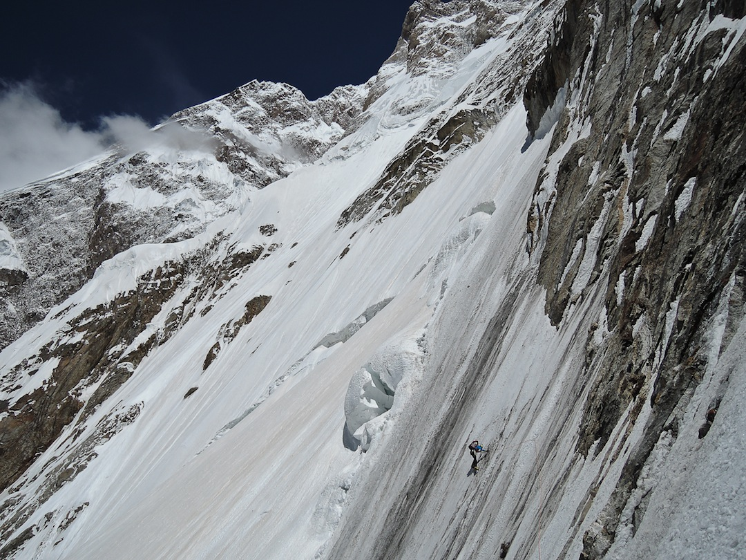 The author on a traverse at 5,600m.