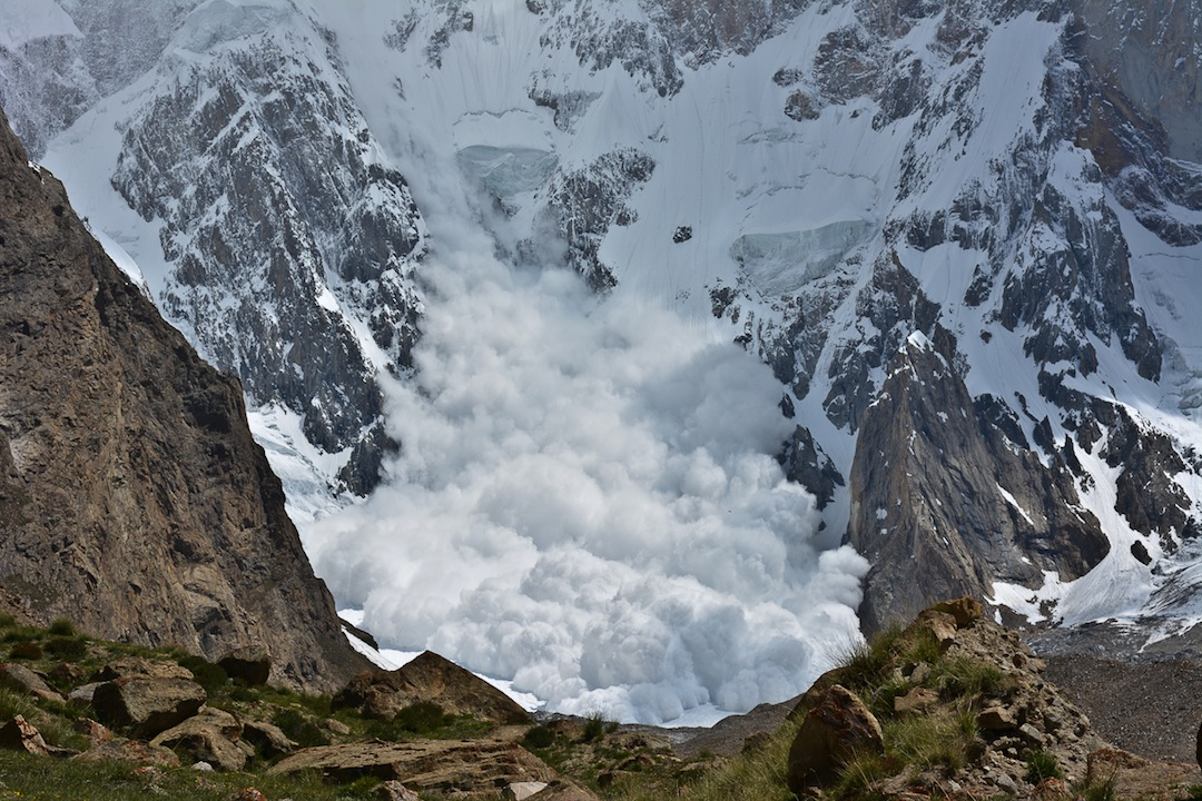 Big avalanche off the southwest face of Khunyang Chhish East.