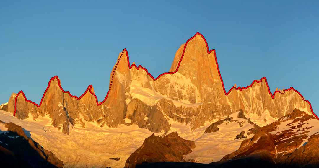 The skyline of the Fitz Roy massif, viewed from the east side. The Fitz Traverse, as completed by Tommy Caldwell and Alex Honnold, is shown. The duo started on the right and ended on the left.