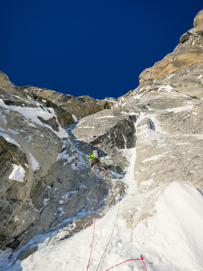 Chris Wright starts up the first pitch of the crux corner system on his initial attempt on Terror.