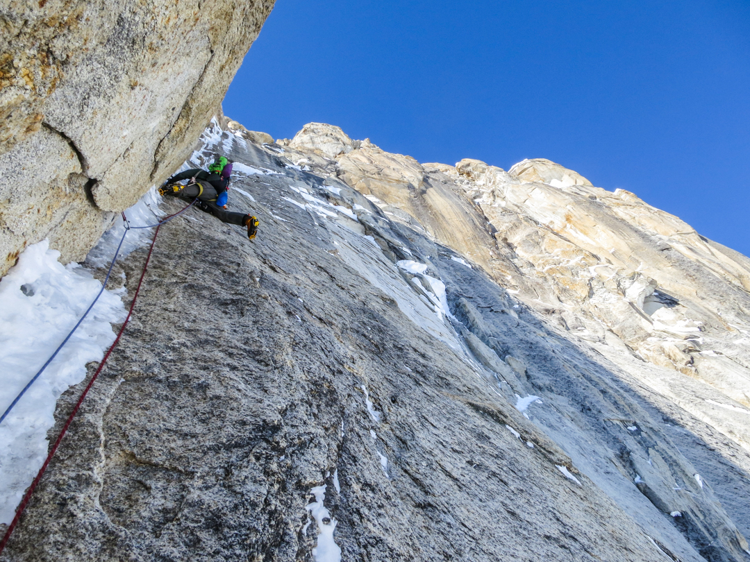 Scott Adamson leading the second M7 pitch of the crux corners on his and Wright's successful ascent.
