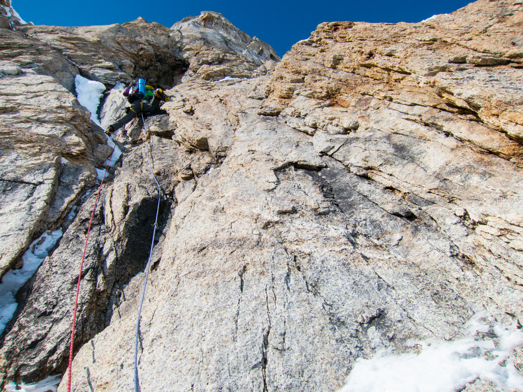 Scott Adamson leading a sustained M7 pitch on the most rotten rock encountered on the route.