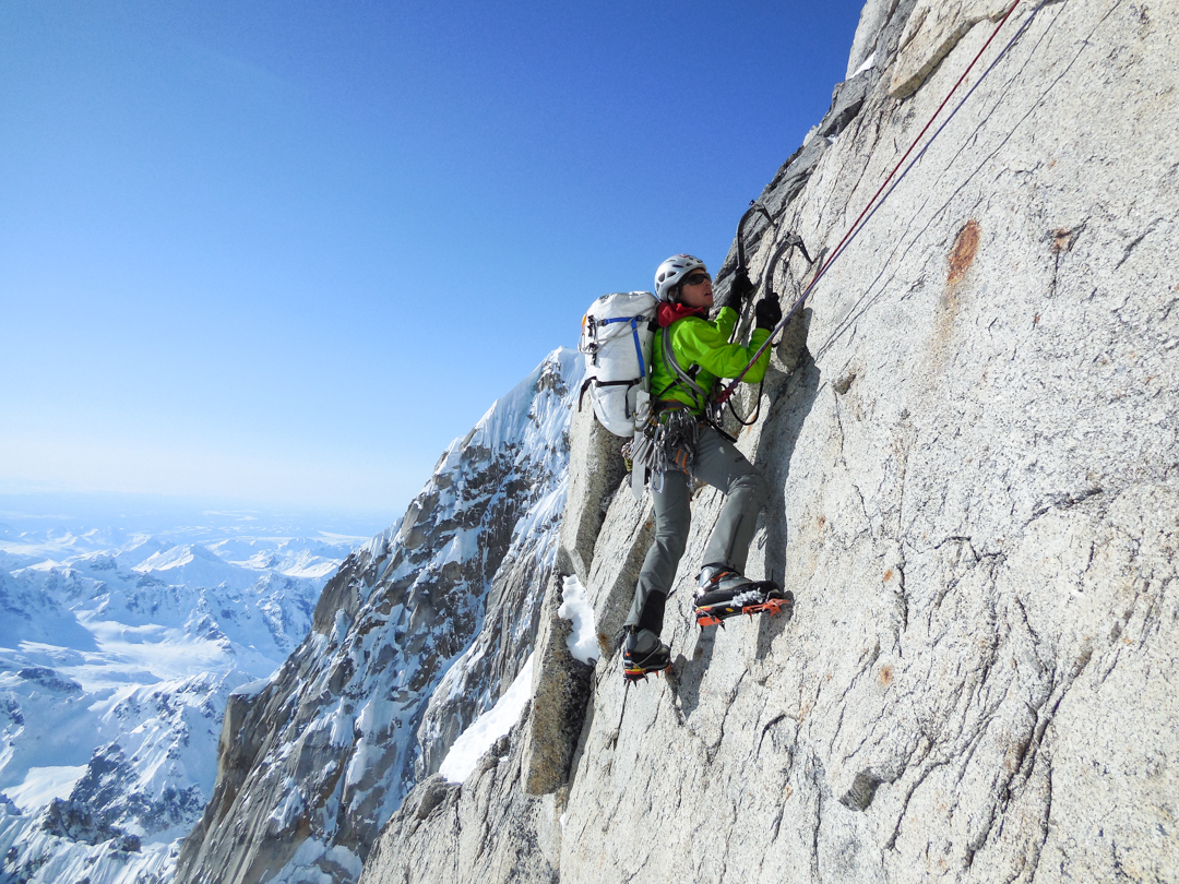 Chris Wright leading another mixed pitch to begin the third day of climbing.