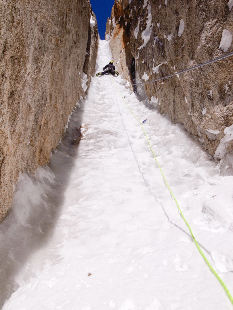 The crux ice lead.