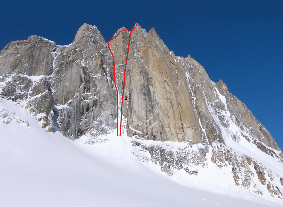 East face of the Citadel, showing (1) Hypa Zypa Couloir and (2) Supa Dupa Couloir. The north ridge comprises the right skyline.