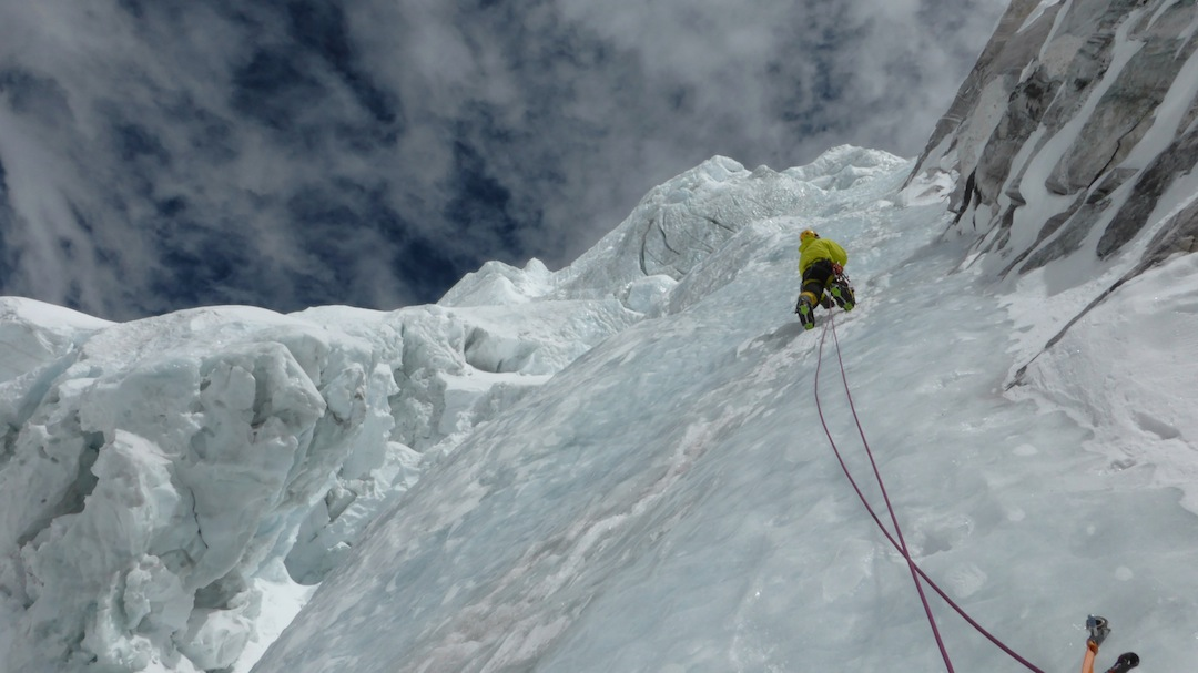 Marek Holecek leads iron-hard ice during the first day on Talung's north face. Fourteen hours of sustained ice climbing gained the first bivouac.