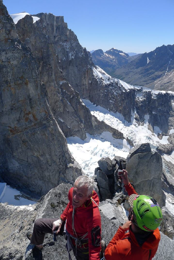 Jim Donini and John Crook in the foreground, while climbing the Tooth. Avenali Tower and Crown Tower are visible in the background.