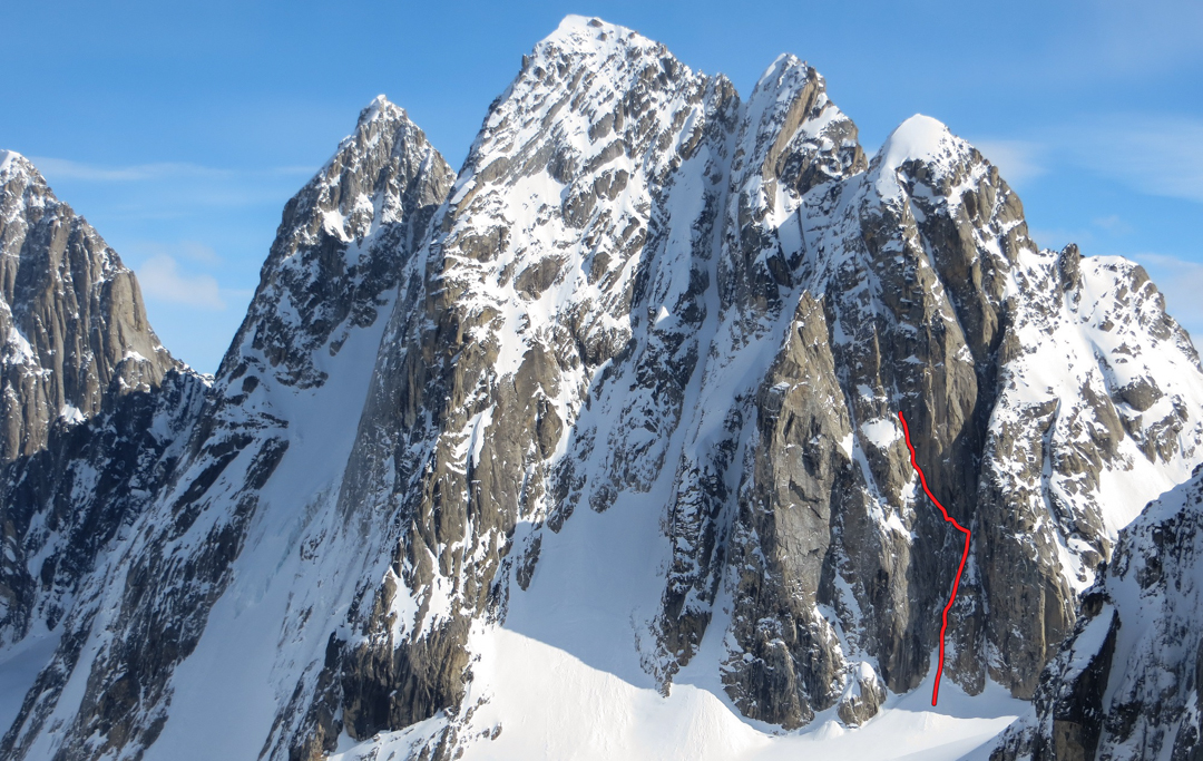 The attempted route on the west face of the Four Horseman.