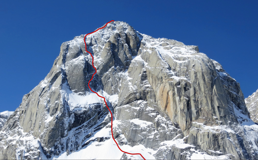 The John Lauchlan Memorial Award Route on the eastern aspect of the Angel. The climbers descended a hanging glacier out of view to the right of the east buttress.