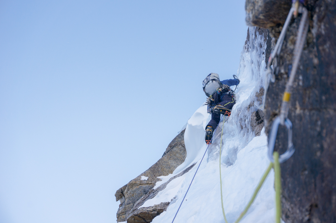 Kris Irwin leads the second of two ice cruxes on Dike Peak.