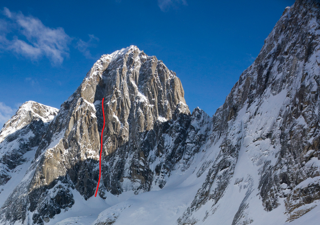 Line of the Canadian attempt (10 pitches) on the west face of Pyramid Peak. Clint Helander and Jason Stuckey also attempted this line in 2013, climbing six pitches. The Odyssey climbs the right side of the wall before gaining the summit ridge to the summit [see that report for the route line].