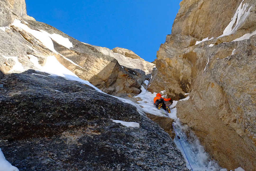 Jerome Sullivan leading an icy corner on the Odyssey.