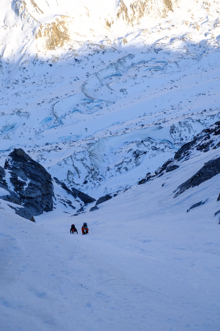 The snow couloir leading to the summit of Mt. Boucansaud.