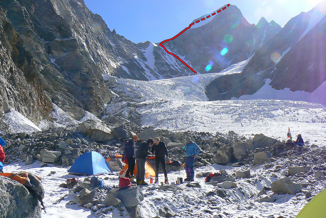 Advanced base camp below the western icefall between Shigri Parvat and Khhang Shiling, and the partial new route on the latter.