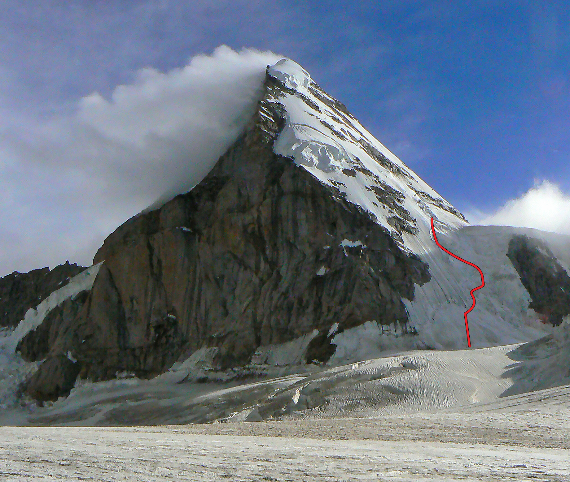 Attempted Romanian route on the northwest face of Kulu Makalu.