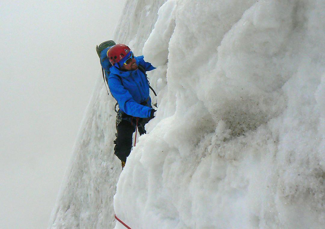 Mihnea Prundeanu climbing on the northwest face of Kulu Makalu before the rockfall incident.