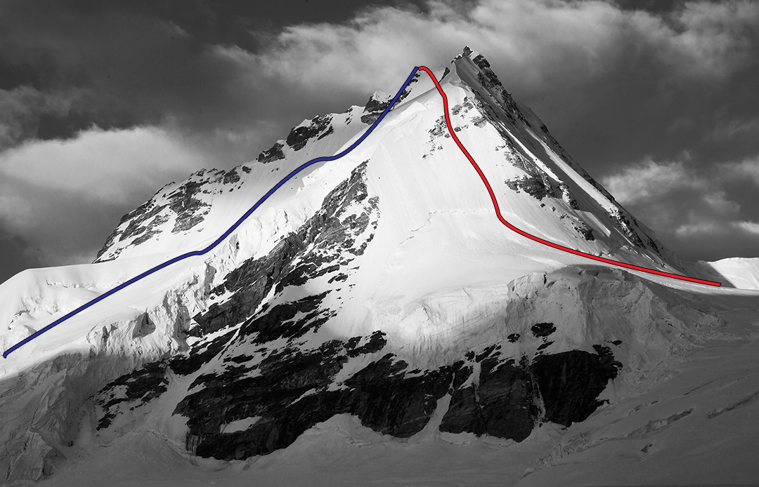 Under Moonlight from the east: Red shows route of ascent on east ridge, and blue the descent of the south face. The rocky foresummit (on right) appears higher in this picture.
