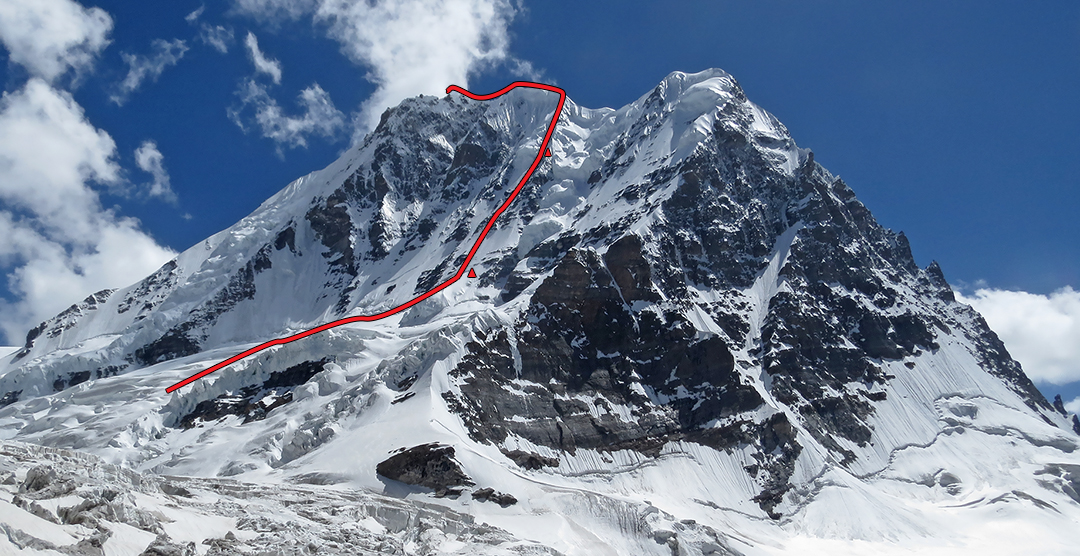 The east-northeast face of Hagshu showing the line of the 1989 British route and two bivouac sites. The north top lies directly above the northeast face (with large curving snow couloir), while the north face is almost in profile.  The Polish 1989 ascent route lies behind the left skyline.