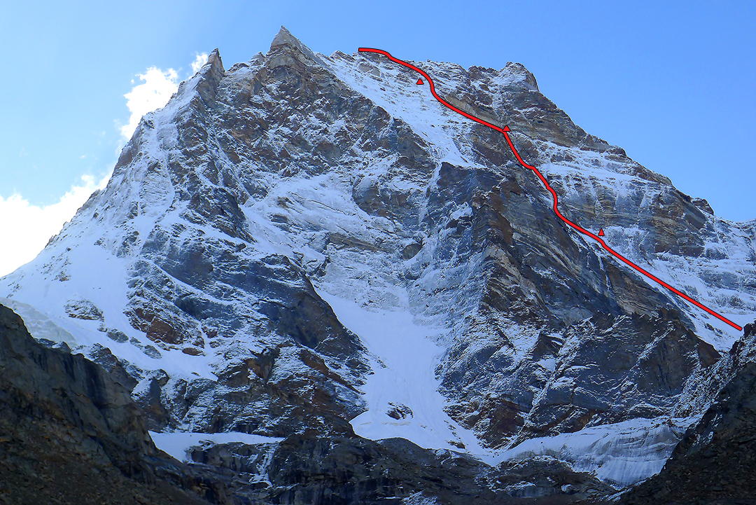 Kishtwar Kailash from the upper Chomochior Glacier to the west, with ascent route and bivouacs four, five, and six.