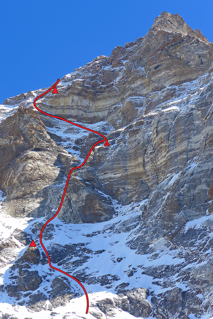 A foreshortened view of Kishtwar Kailash's southwest face with route and bivouacs.