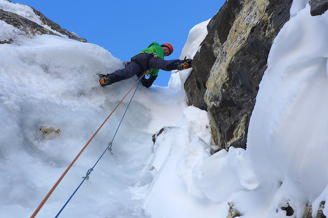 Mick Fowler tackles a steep ice section on day four of the first ascent of Kishtwar Kailash.