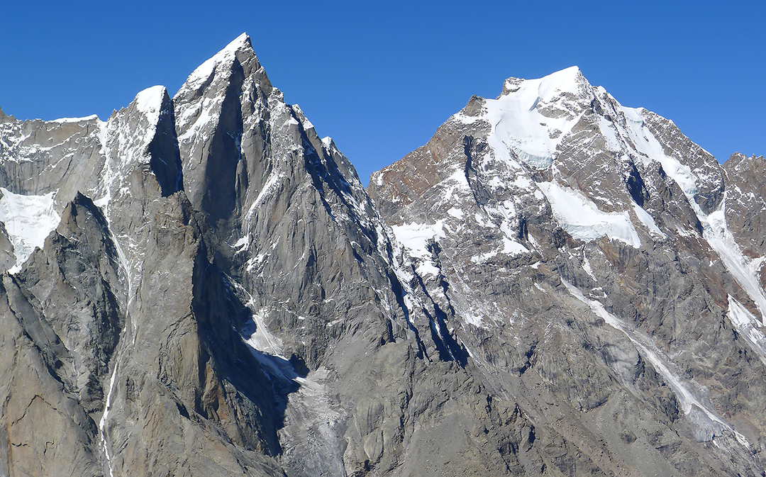 The unclimbed eastern aspects of Cerro Kishtwar (6,155m GPS) and Chomochior (6,322m, map height), seen from Kishtwar Kailash.