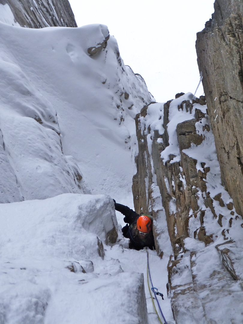 Max Fisher following the crux pitch on the M5 couloir.