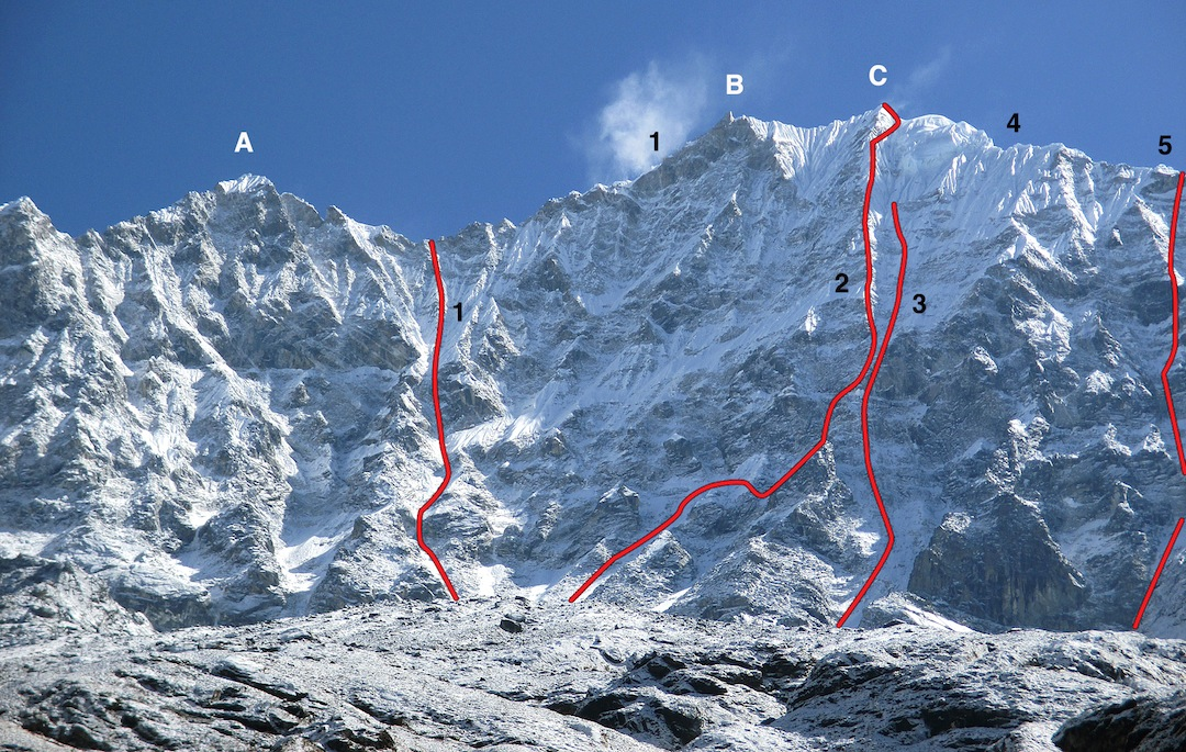 Southwest face of Thamserku. (A) Pt. 6,341m. (B) Rocky foresummit (ca 6,600m). (C) Main top (6,618m). (1) Japanese Route (1979, approximate line). The Japanese continued up the west ridge to the summit. (2) Shy Girl (2014). (3) Spanish attempt (1986). (4) Upper south ridge (1964, New Zealand). (5) Russian descent in 2014.