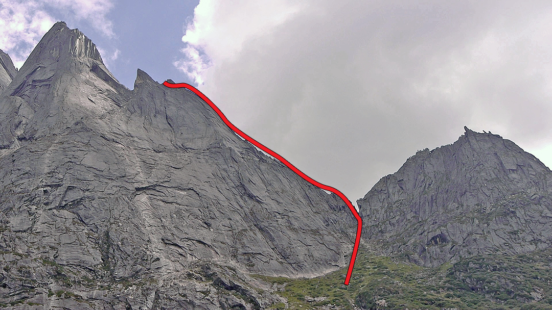 Seerdenpu from the west showing Playing with Fire on the south ridge.