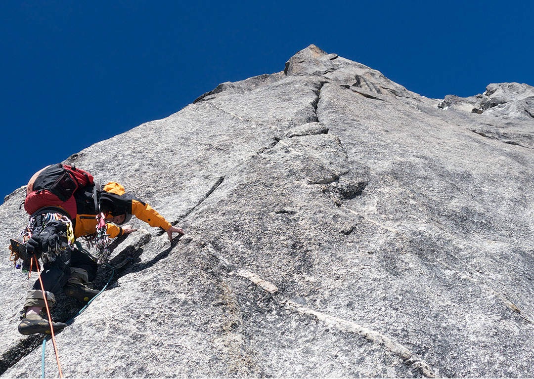 Anderson leading on the southwest ridge of Dayantianwo.