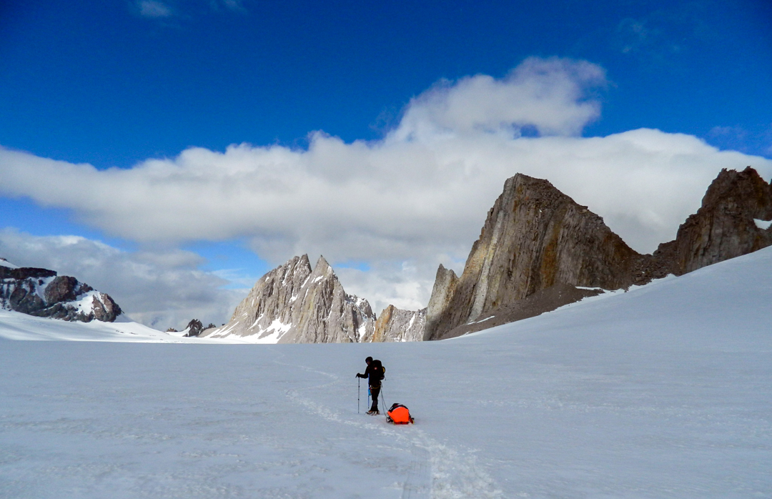 Arriving on the Cortaderal Glacier. Gran Torre del Cortaderal (left) and unnamed peak (right).