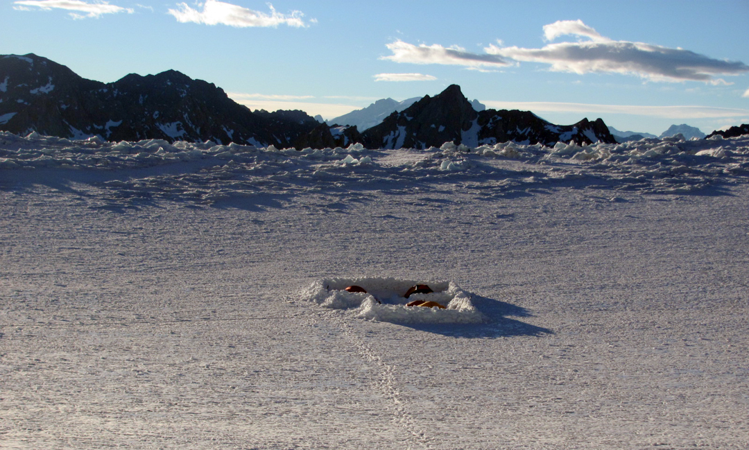 The second of two base camps, this one on the Cortaderal Glacier (ca 4,000m).