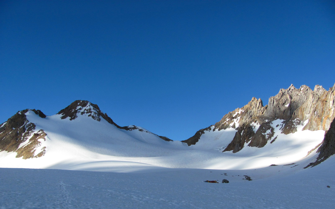 The view from the first of two base camps, this one on the University Glacier. The peak on the left is Pilar Meridional.